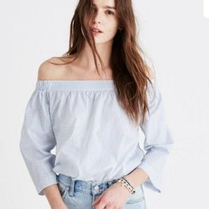 Madewell Off The Shoulder Striped Top Small